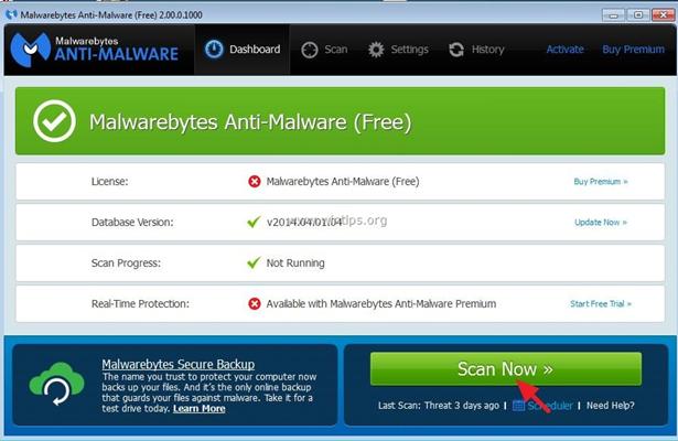 Bilgisayardaki Zararlı Yazılımlar Temizleme Programı - Malwarebytes Anti-Malware Free İndir